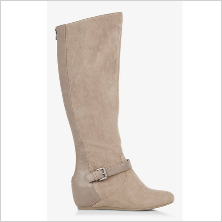 Tall Buckled Wedge Boot in Dark Sand