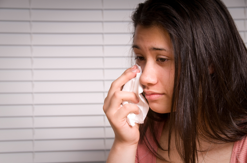 Teen girl crying