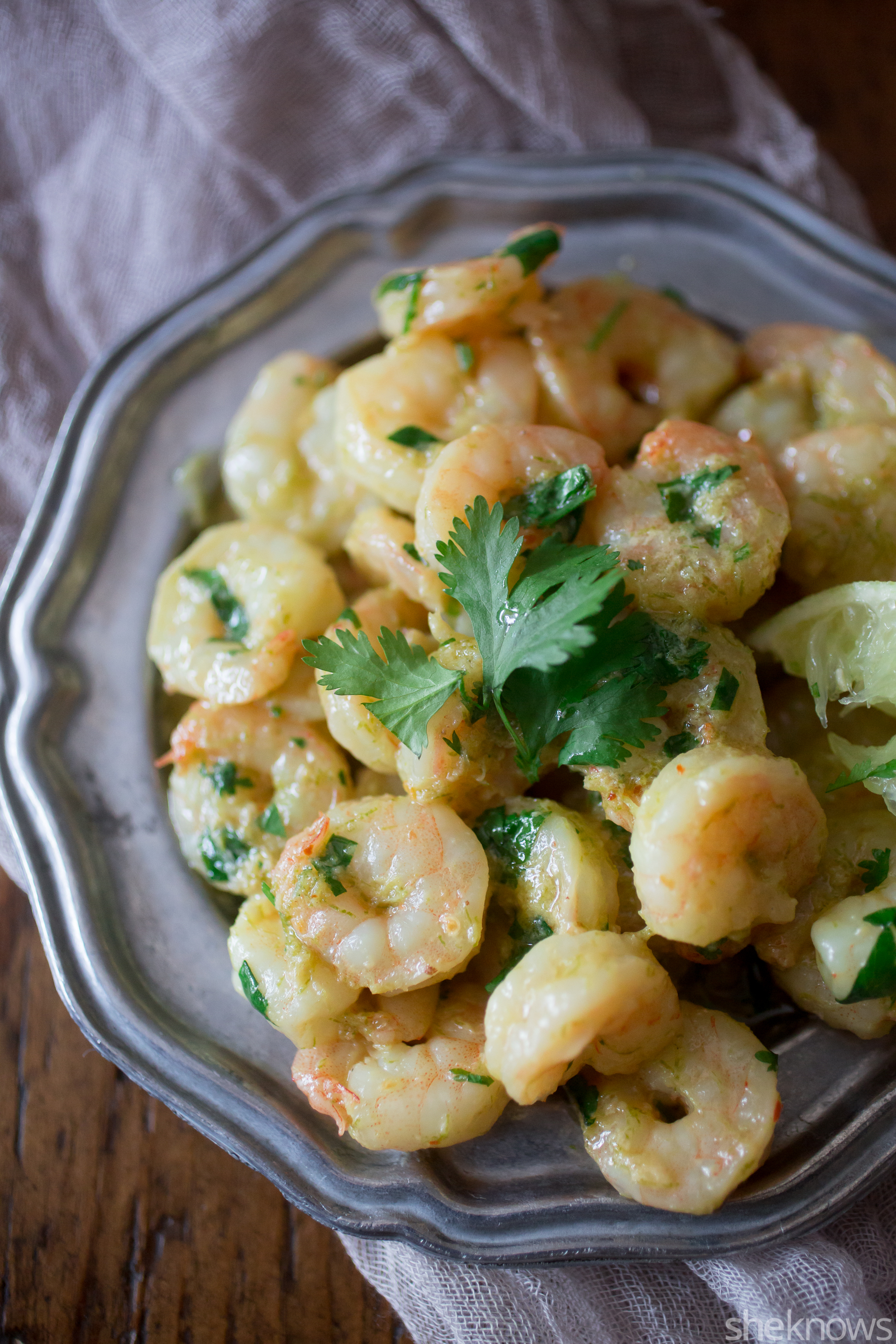 tequila lime cilantro shrimp on a plate