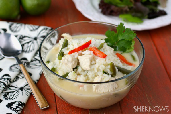 Thai coconut chicken soup with rice