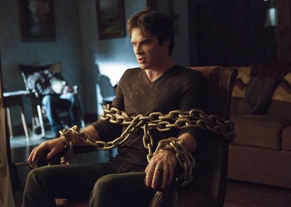 Enzo tries to save Damon on The Vampire Diaries