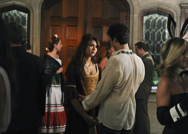 Elena and Damon attend a costume party on The Vampire Diaries