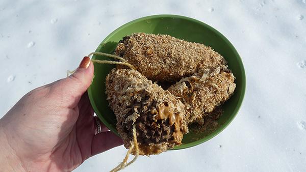 Pine cone bird treats in bowl