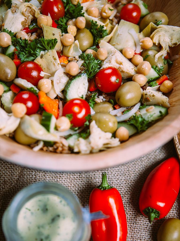 Vegan Greek farro salad