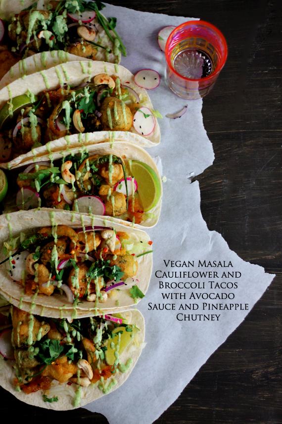 vegan masala cauliflower and broccoli tacos