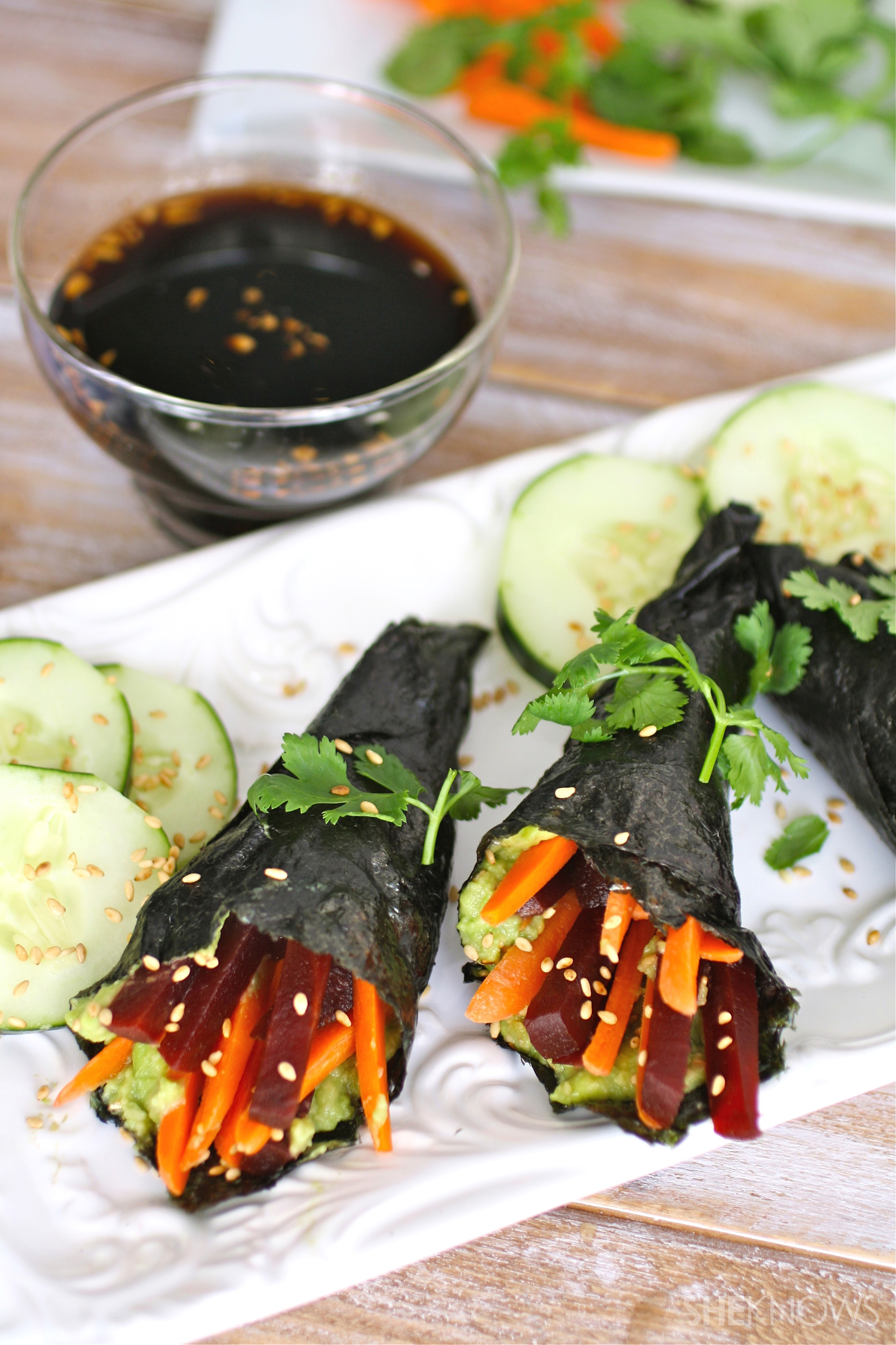 Vegan avocado and beet hand rolls with a spicy teriyaki sauce