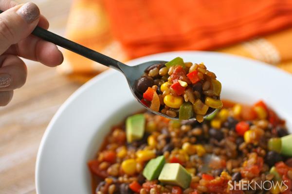 Vegan wheat berry and black bean chili