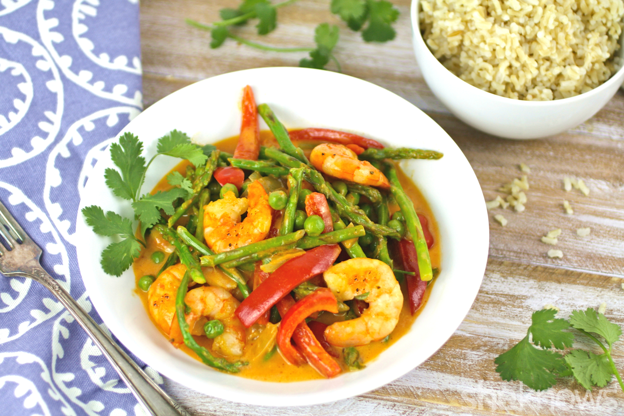 We love tasty, one-dish wonder dinners like curried shrimp with spring vegetables
