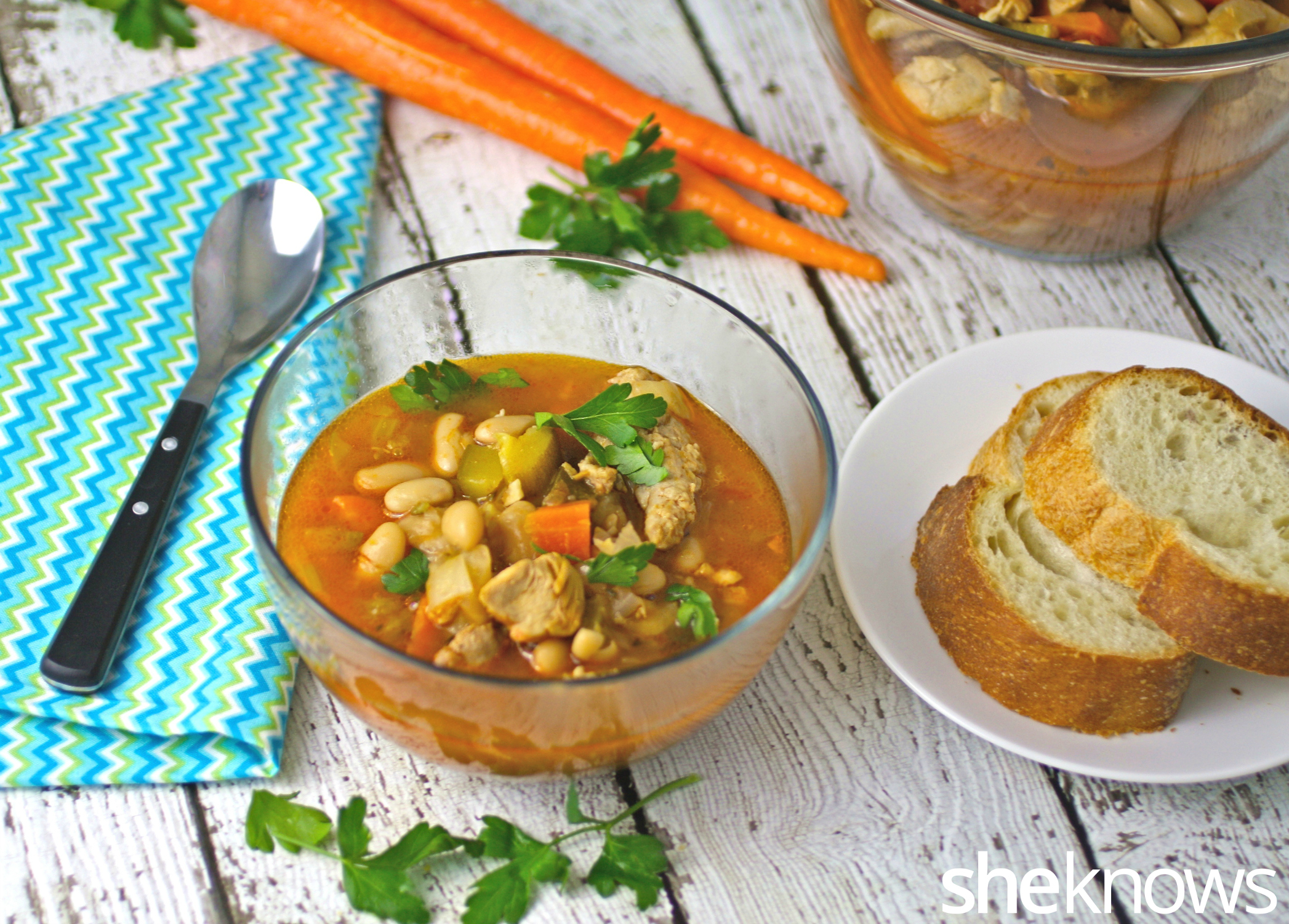 This recipe for Slow cooker Sunday chicken and sausage cassoulet is filled with flavor