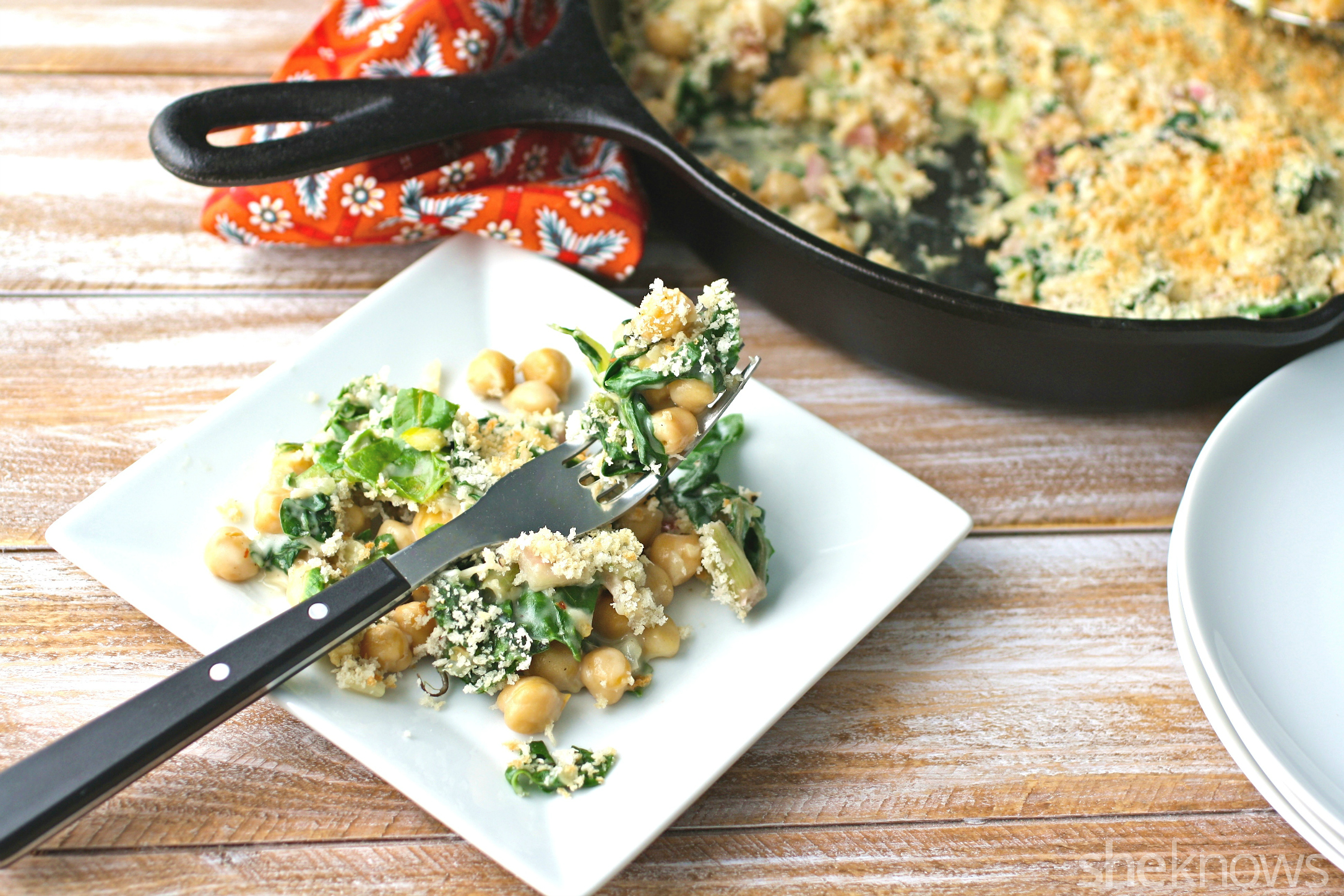 Textures combine in this Meatless Monday recipe for creamy skillet Swiss chard with chickpeas and crunchy breadcrumbs