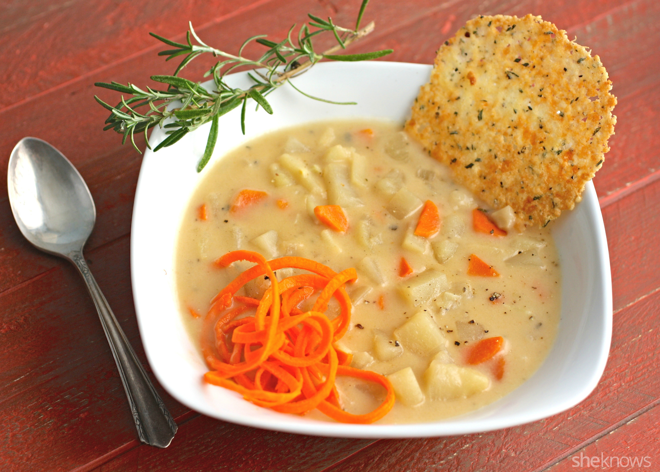 Simmer down for dinner with carrot, parsnip, and potato chowder with Parmesan crisps
