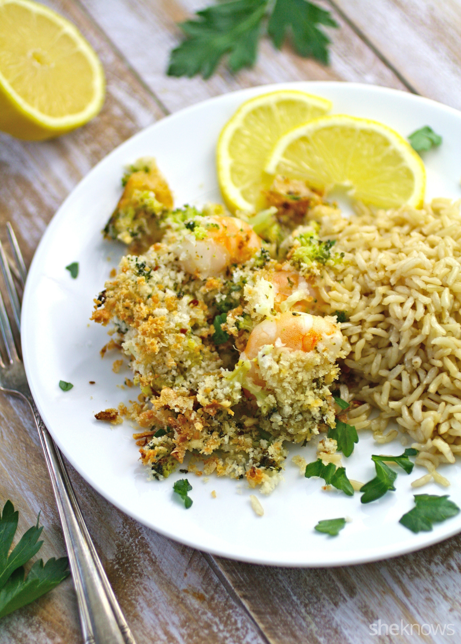 Shrimp scampi bake with lemon-chile panko goes nicely with rice