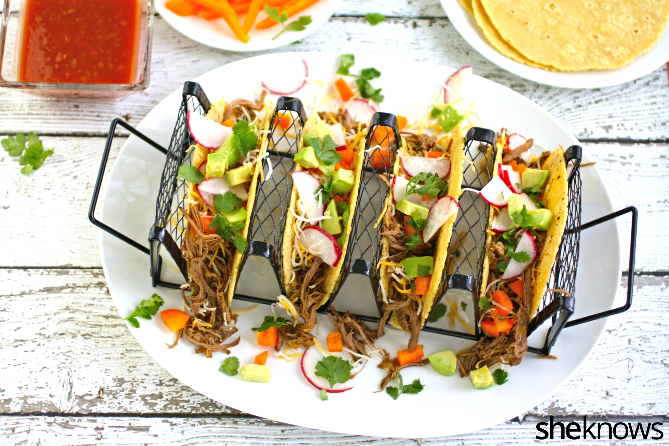 So many flavors and colors with these slow cooker Sunday beer-braised beef tacos!