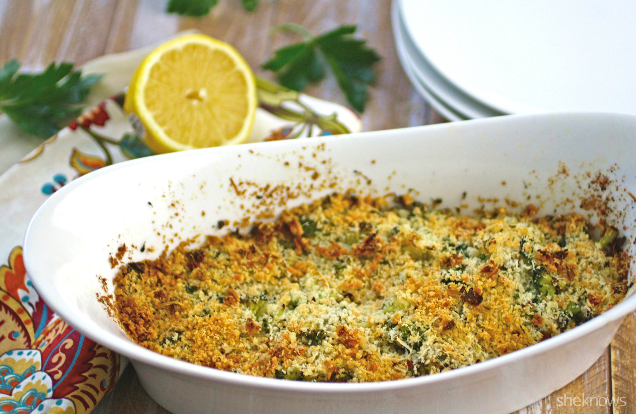 This dish for shrimp scampi bake with lemon-chile panko is baked for a healthier delivery