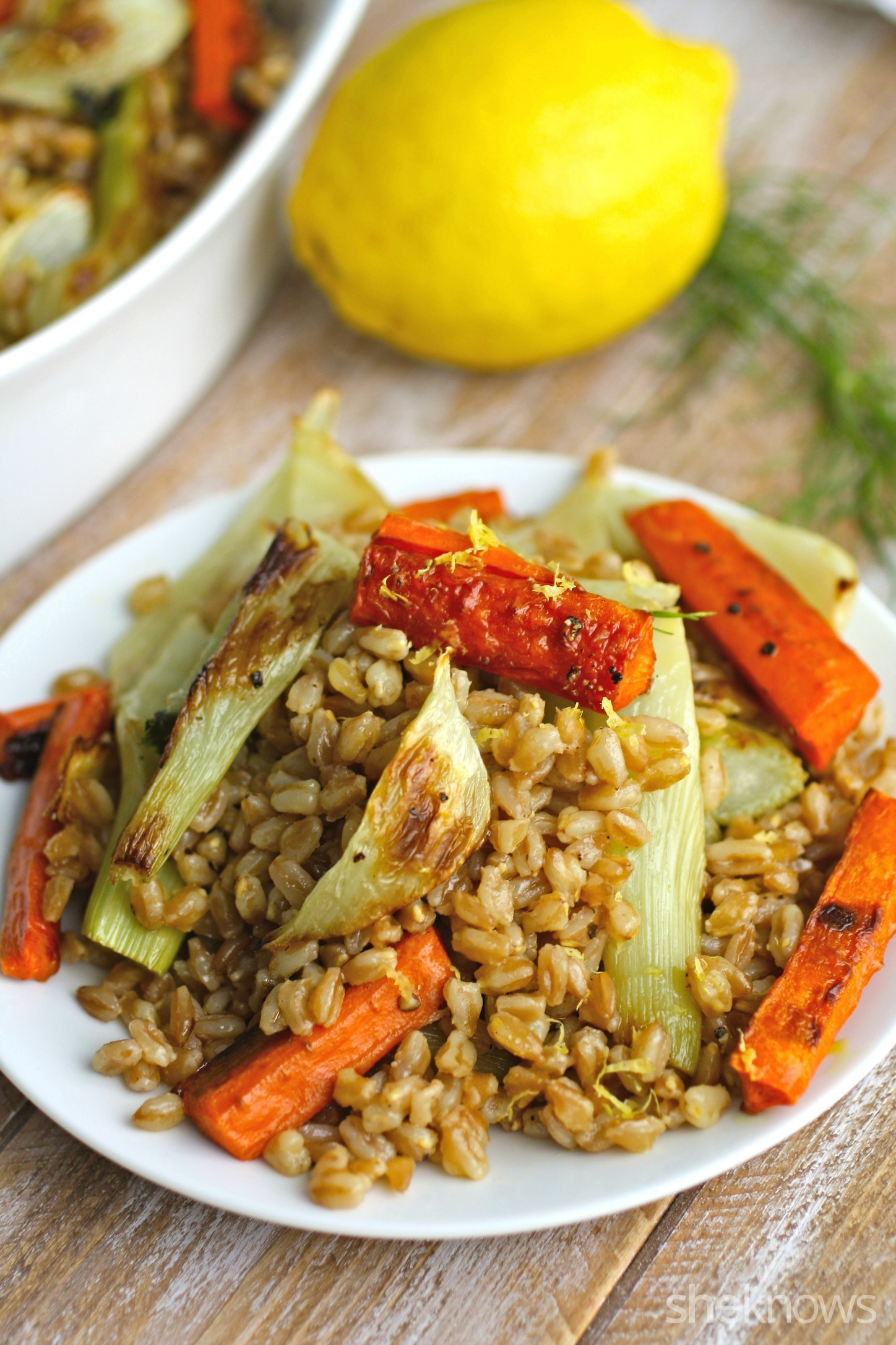 Serve this vegan dish: warm farro salad with roasted carrots and fennel