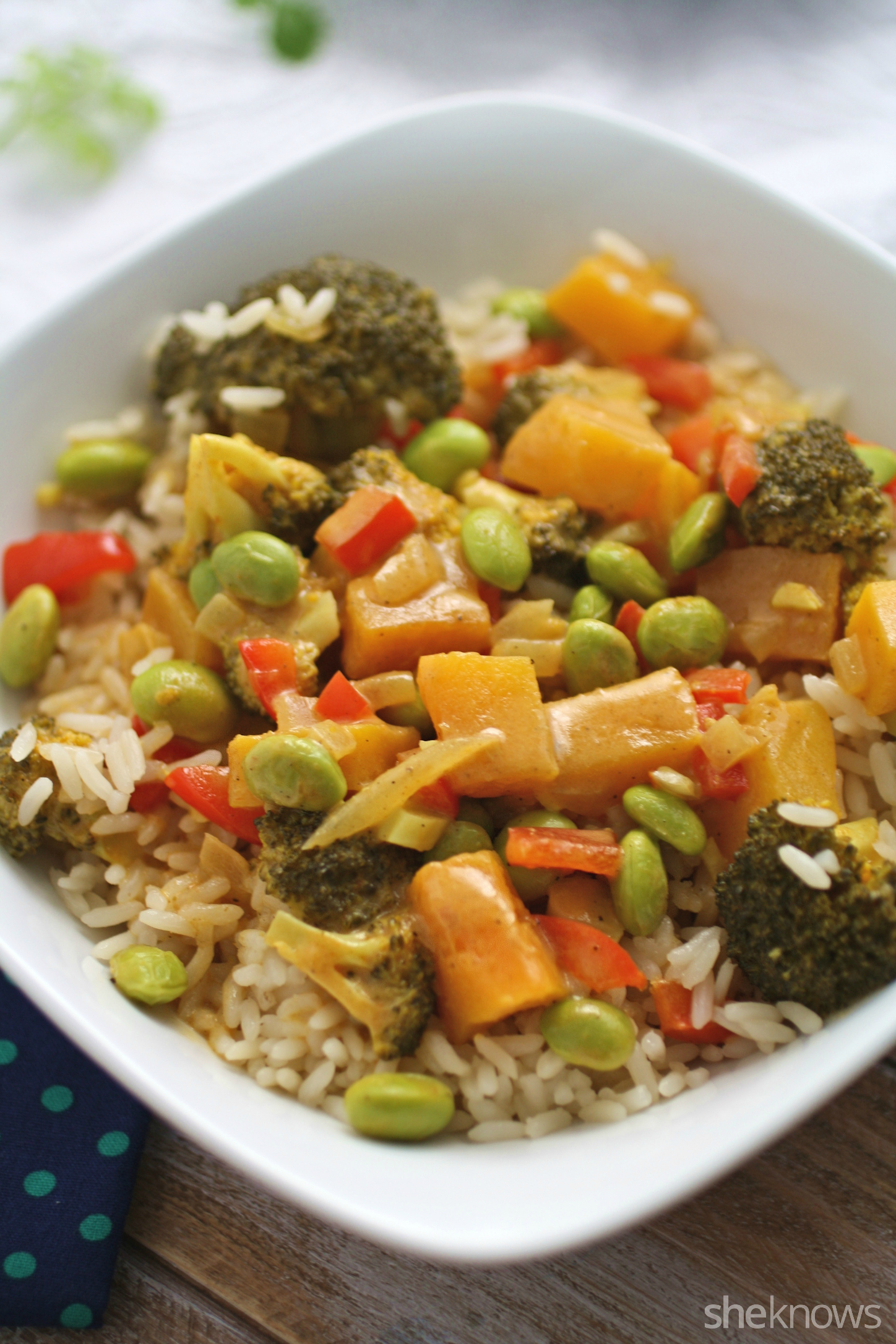 Cozy up to a bowl of lightened up vegetable korma