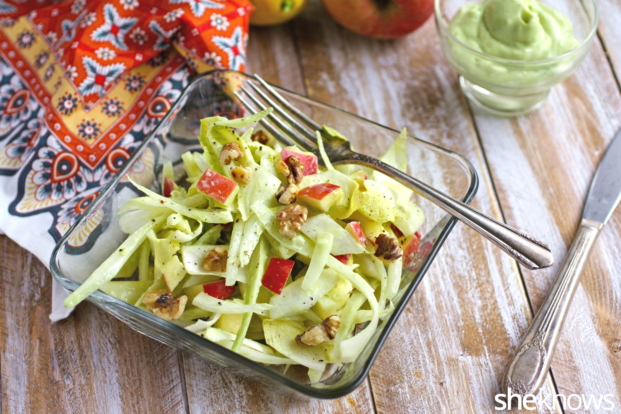 Perfect on a Meatless Monday: Fennel, apple, and endive salad with creamy lemon dressing