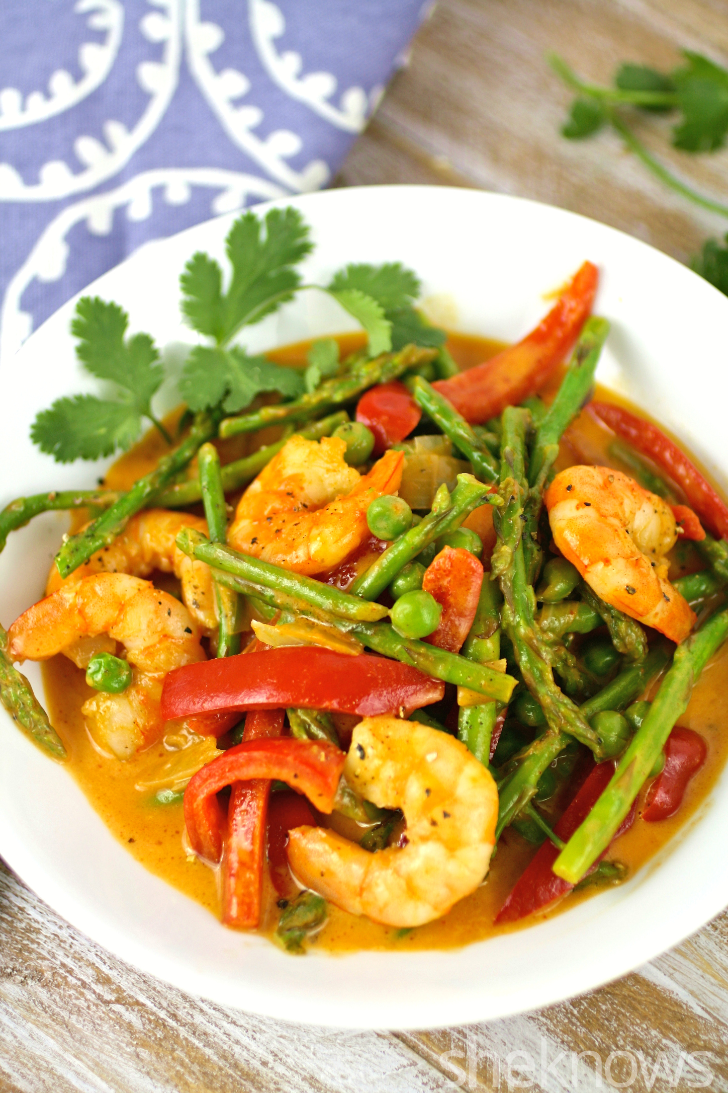 Get ready for dinner with this one-pot wonder: curried shrimp and spring vegetables