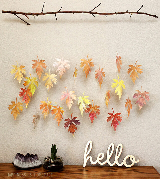 Fall Thanksgiving crafts for kids: watercolor leaf and branch mobile