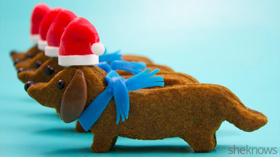 Christmas Wiener dog cookie