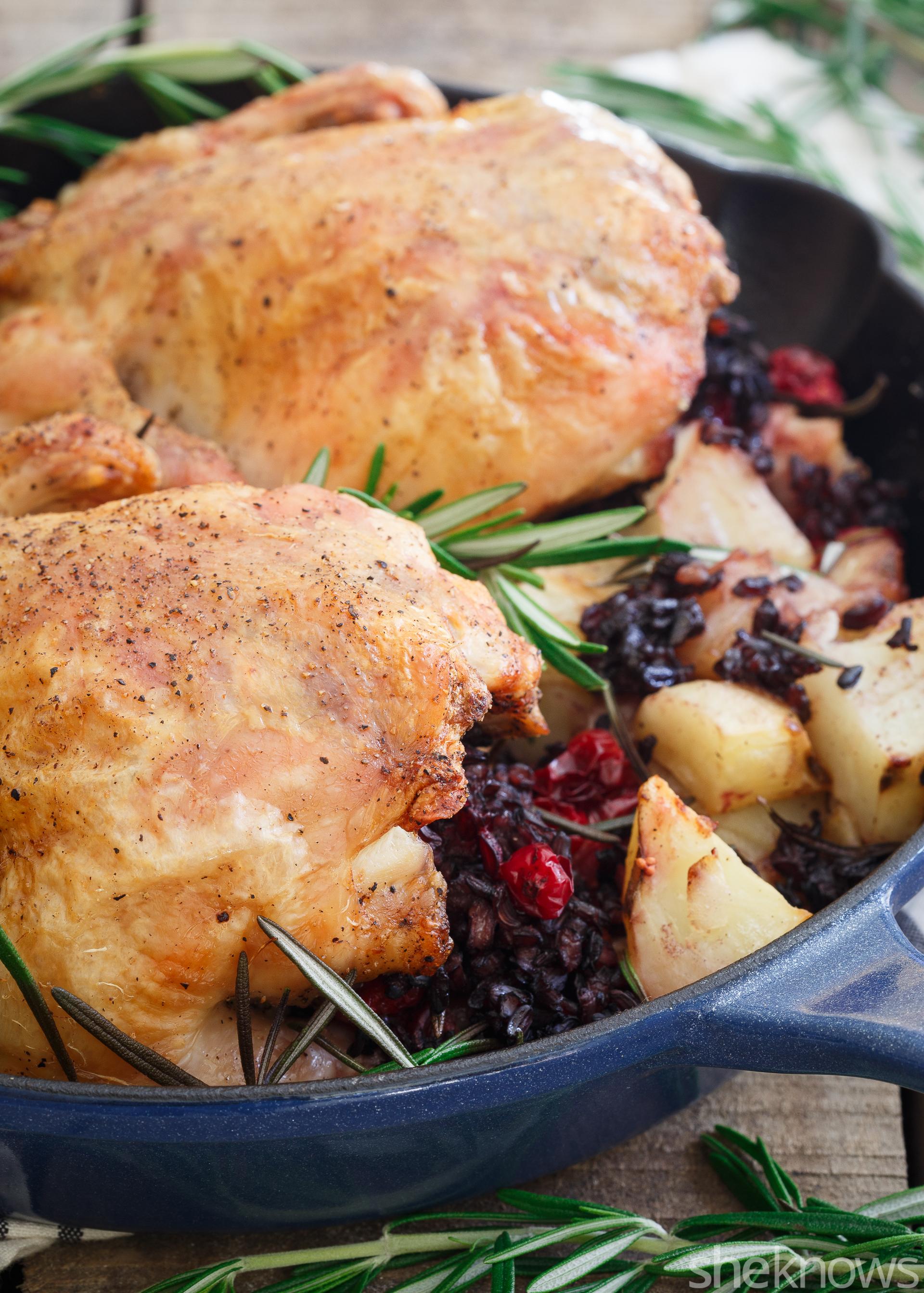 wild rice and cranberry stuffed cornish hens