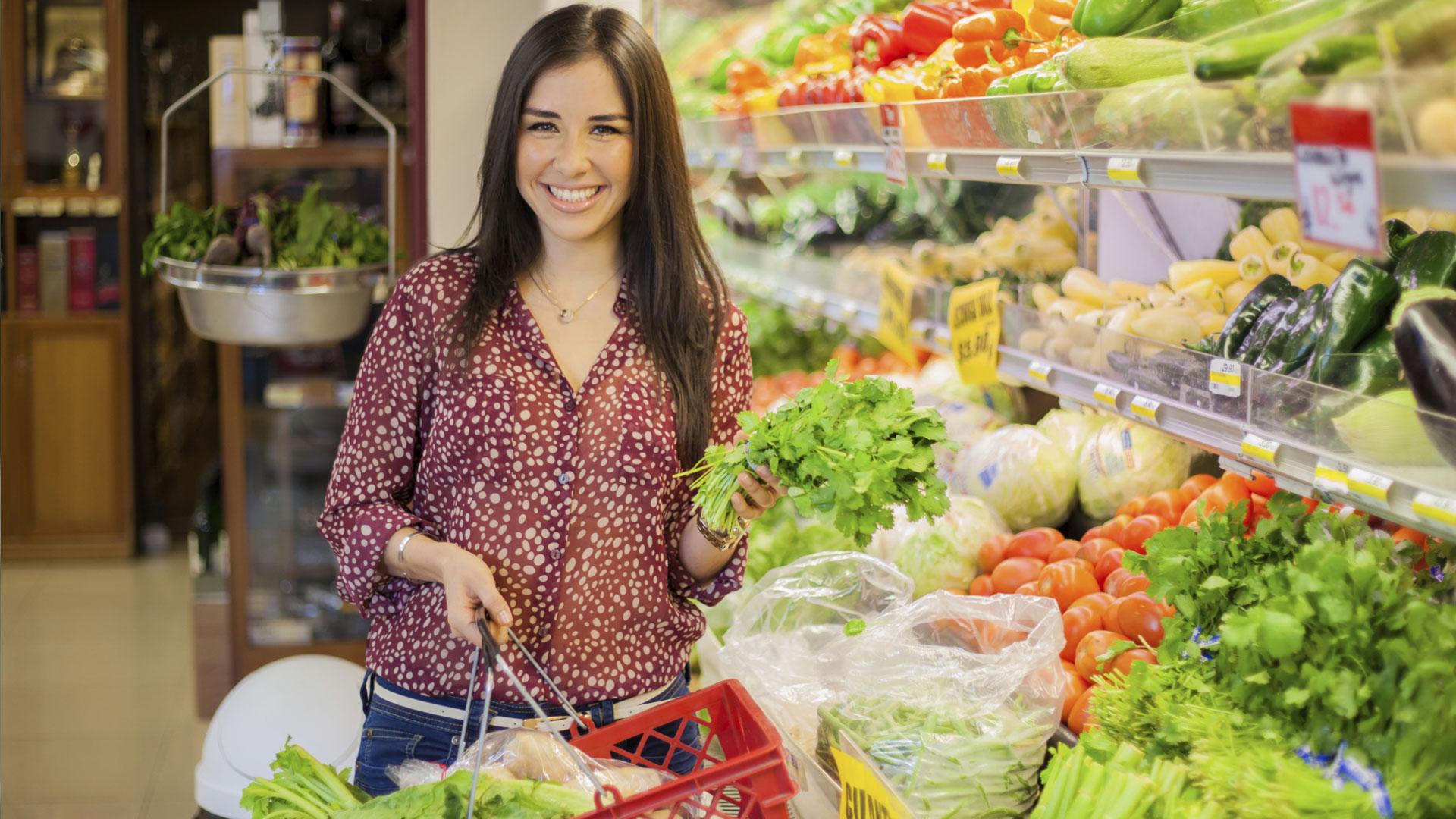 Woman buying organic foods