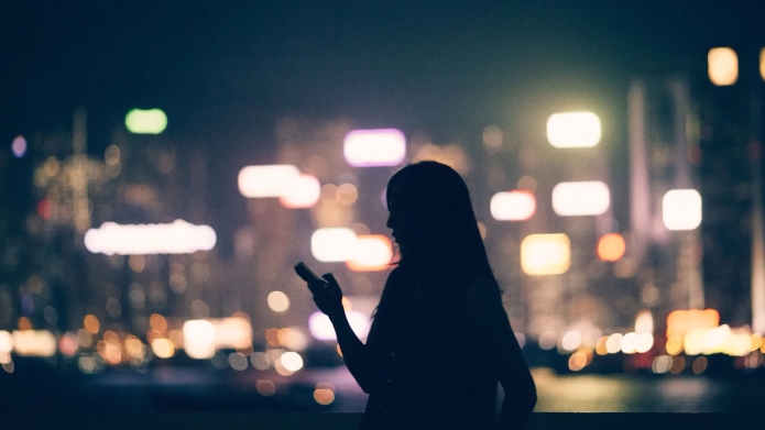 Woman-silhouette on smart phone