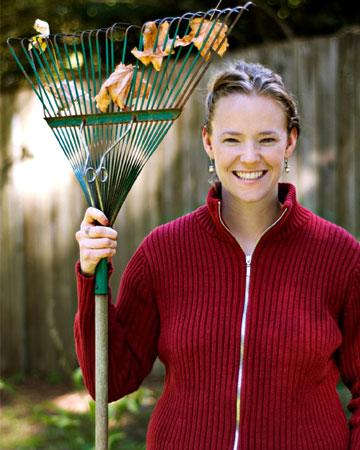 Woman with rake