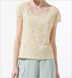 light yellow embroidered top