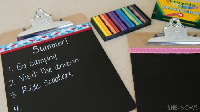 DIY chalk clipboard for family organizing