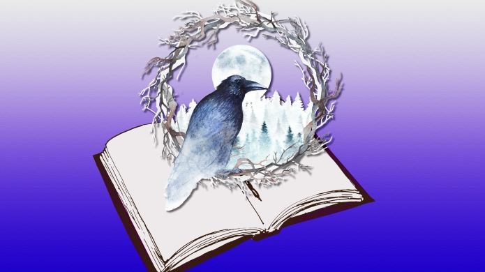 Book with raven, wreath, and moon