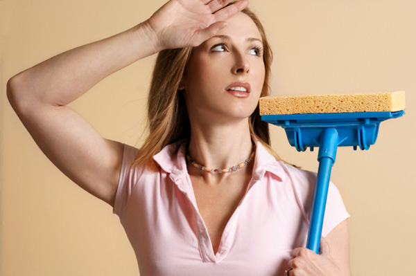 woman with mop