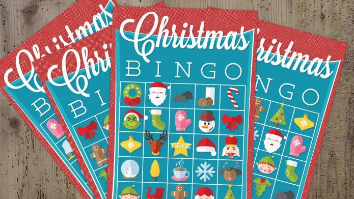 Christmas bingo game printable with three