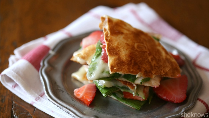 Strawberry, Brie and spinach quesadillas are