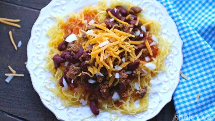 Cincinnati chili with spaghetti squash —