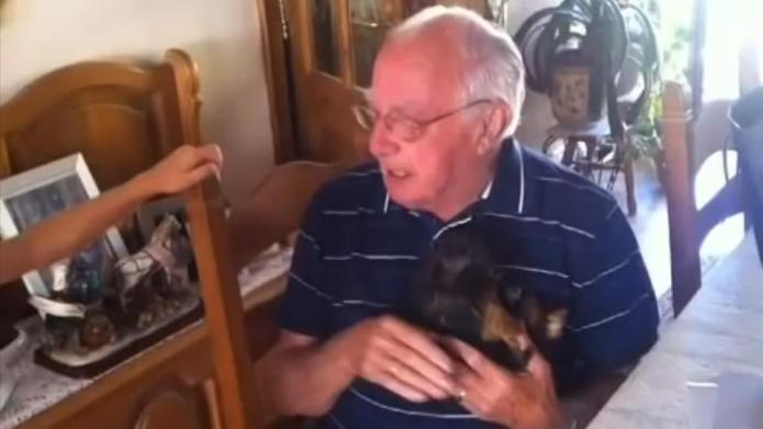 Grandpa is given a puppy after