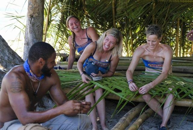 Alan Ball, Ashley Nolan, Chrissy Hofbeck and Katrina Radke work at camp Survivor: Heroes Vs. Healers Vs. Hustlers season 35 CBS