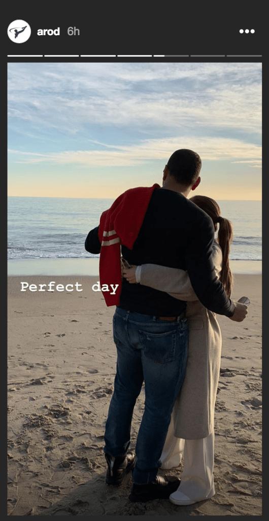 Photo of Alex Rodriguez and Jennifer Lopez on Malibu Beach