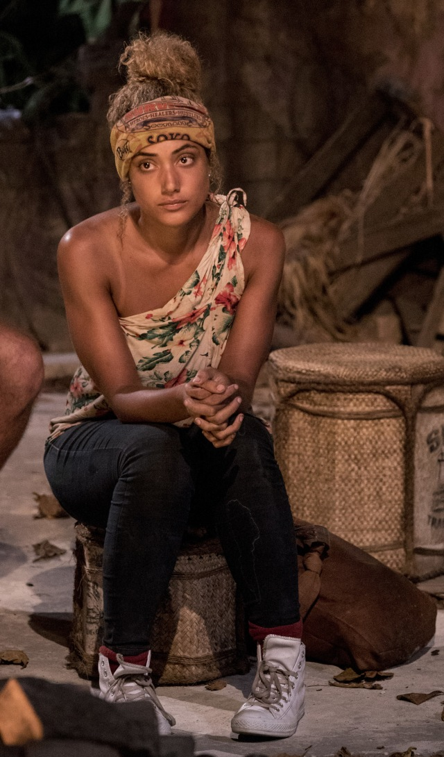 Ali Elliott at Tribal Council on Survivor: Heroes Vs. Healers Vs. Hustlers