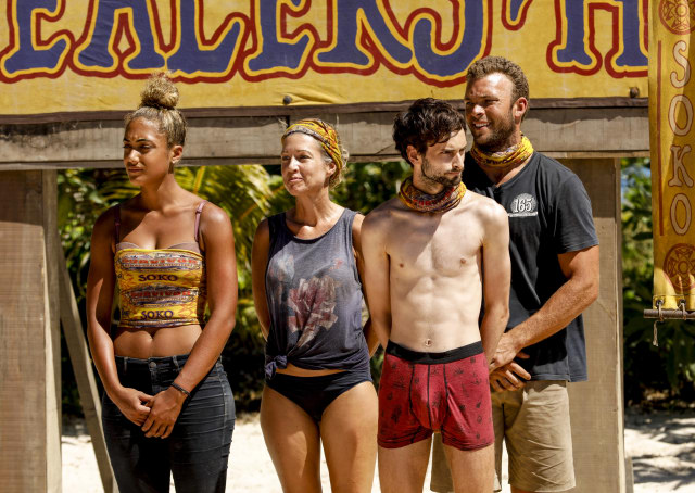 Ali Elliott, Chrissy Hofbeck, Ryan Ulrich and JP Hilsabeck on Survivor: Heroes Vs. Healers Vs. Hustlers