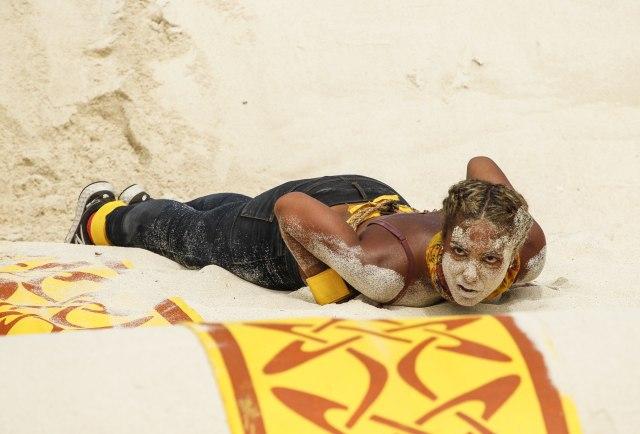 Ali Elliott competes in sandy challenge Survivor: Heroes Vs. Healers Vs. Hustlers