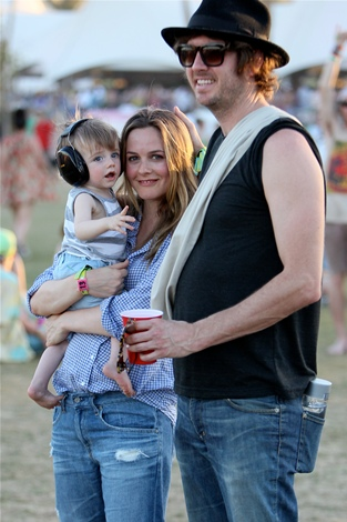 Alicia Silverstone, her husband and son Bear