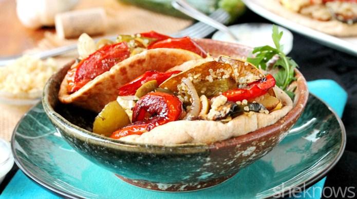 Meatless Monday: Roasted veggie-quinoa pitas will