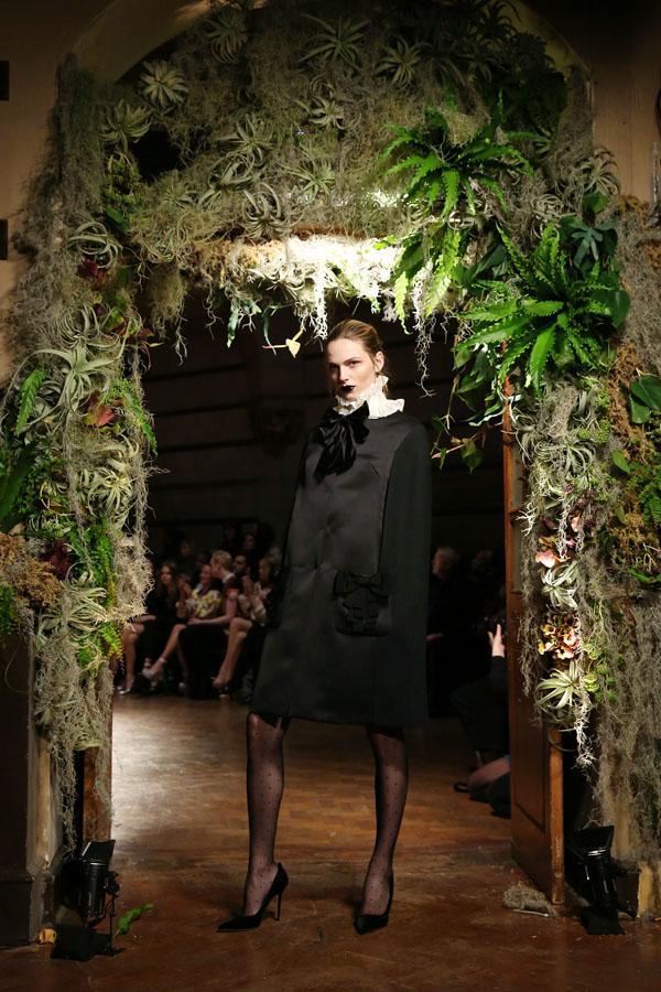 Andreja Pejic walks the catwalk as a woman during London Fashion Week