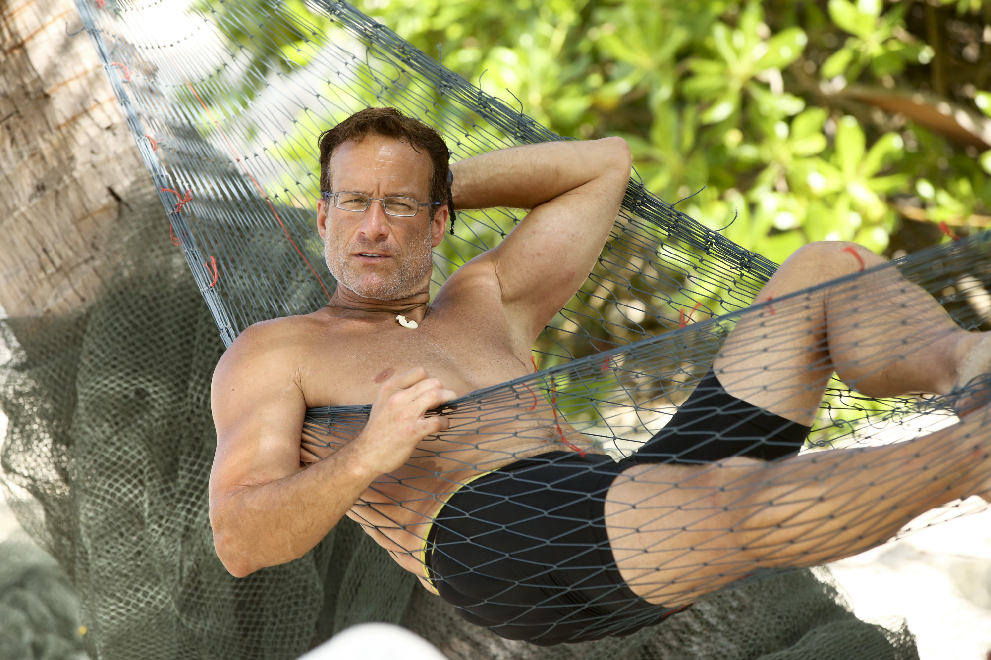 Andrew Savage relaxes in hammock on Survivor: Second Chance