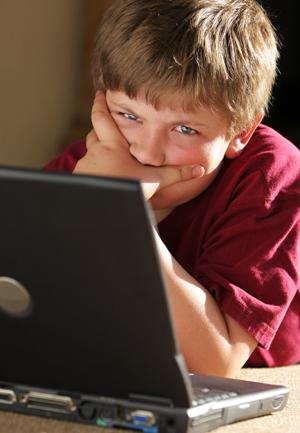 Angry Boy on Computer
