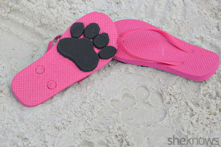 Animal print flip flops