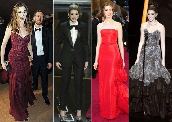 Anne Hathaway in 2011 Oscar gowns