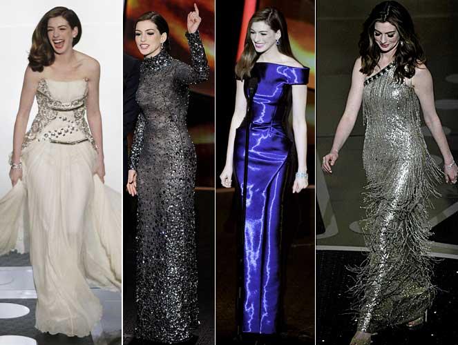 Anne Hathaway's 2011 Oscar red carpet dresses