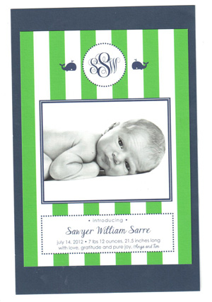 Anya Sarre's baby announcement